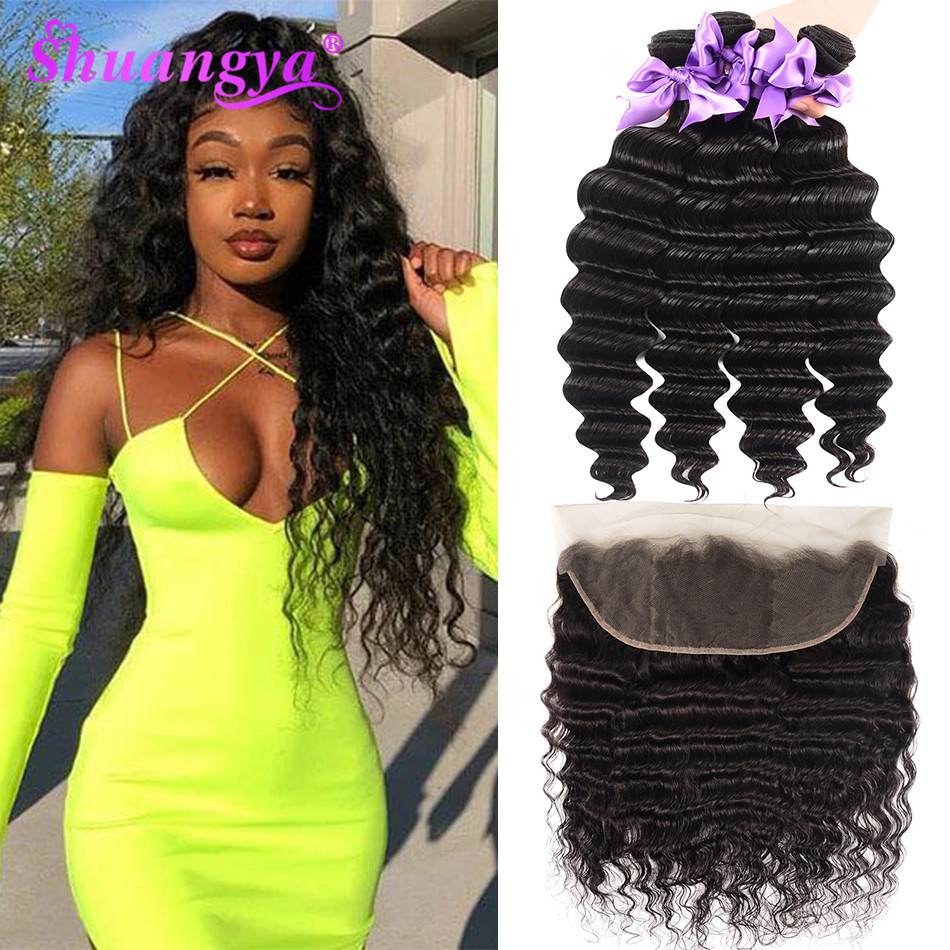 Malaysian Loose Deep Wave Bundles With Frontal More Wave Transparent Lace Frontal With Bundles 100% Remy Bundles With Frontal