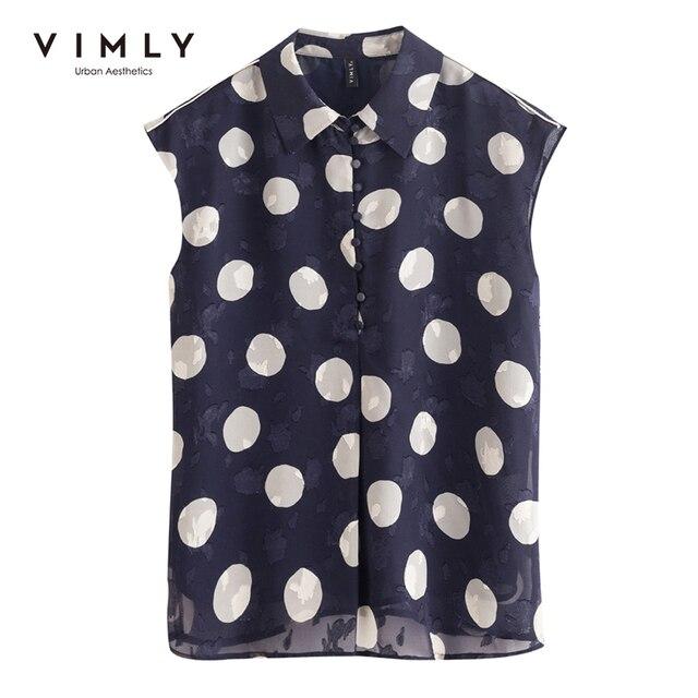 VIMLY New Summer Women Shirts Elegant Button Up Shirt Short Sleeve Casual Dot Blouse Ladies Vintage Blusas Female Tops F7502 5