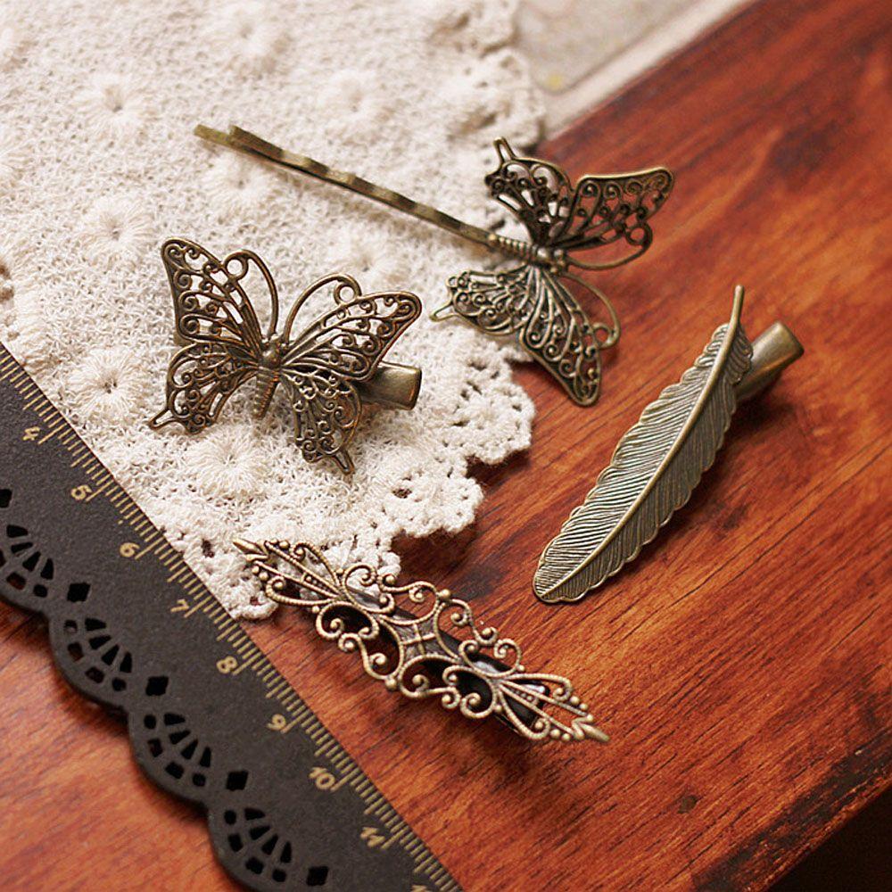 Металлическая блестящая заколка для волос в стиле ретро, 1 шт., заколка-бабочка с перьями, винтажные полые заколки для волос, украшение для волос, инструменты для укладки волос