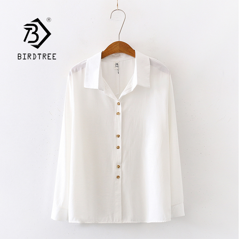 2020 Summer New Arrival Women Solid White Shirts Autumn Long Sleeve Vintage Shirt Loose Tops Casual Blouse Feminina Blusa T03217