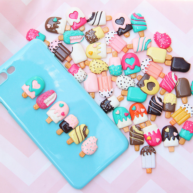 10Pcs/Set DIY Colours Ice Cream Charms Supplies Slime Toys Phone Case Decoration Handmade Craft Ornament Accessories Girls Toys