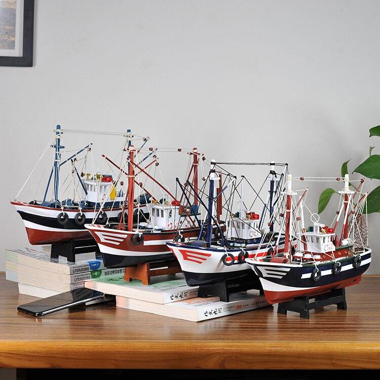 Style méditerranéen décoration de la maison bateau modèle en bois massif chambre d'enfants meublé avec voile lisse bateau de pêche bateau artisanal - 4