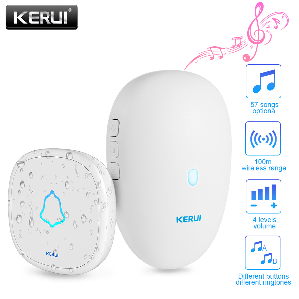 KERUI M521 Home Security Welcome Wireless Doorbell Smart Chimes Doorbell Alarm 57 Songs Waterproof Touch Button With Battery