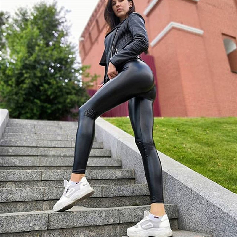 S-5XL Women Black Summer PU Leather Pants High Waist Skinny Push Up Leggings Sexy Elastic Trousers Stretch Plus Size Jeggings
