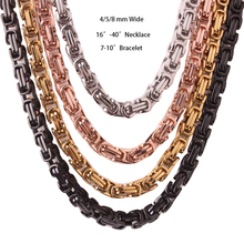 Chain Necklace Or Bracelet for Men Stainless Steel Gold Silver Black Byzantine Link Mens Womens Chains Fashion Jewelry