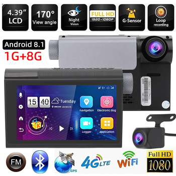 4.3'' IPS Car DVR WiFi Full HD 1080P 4G Bluetooth Dashcam Android GPS Navigation ADAS Dash Cam Speed Monitor Night Vision Camera image