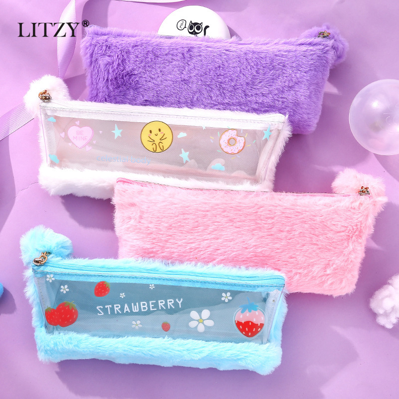 Cute Pink Plush Pencil Case For Girls Student Kawaii Pencil Box Stationery Pencilcase Big Capacity Pen Bag School Supplies Gift