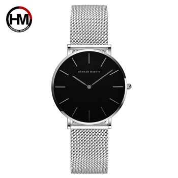 1pc ladies wrist watches Movement High hannah Martin Women Stainless Steel Mesh Rose Gold Japan Quartz Waterproof Women watches - CH36-WYY