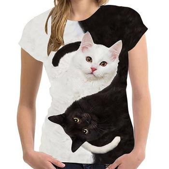 2021 moda nowe fajne koszulki mężczyźni kobiety 3D Tshirt nadruk z kotem z krótkim rękawem lato topy koszulki męskie T Shirt dla dzieci Y2K ubrania tanie i dobre opinie REGULAR Sukno CN (pochodzenie) COTTON Z polipropylenu Z elementami naszywanymi tops Z KRÓTKIM RĘKAWEM SHORT Dobrze pasuje do rozmiaru wybierz swój normalny rozmiar