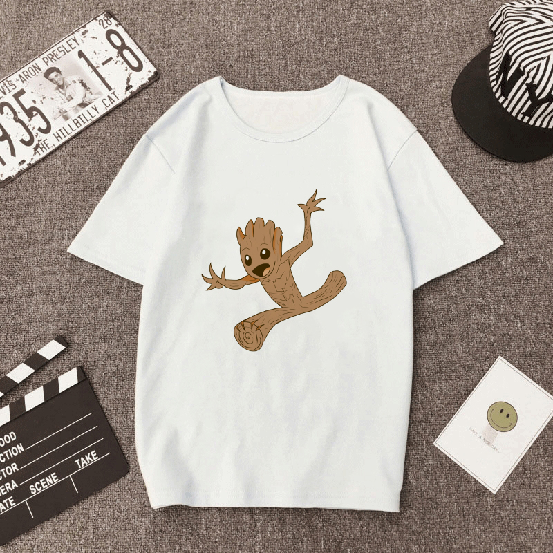 Showtly  Groot Men/Women Clothing Tshirt Harajuku Streetwear Print Fashion Wind Carton Round Neck Men's T-shirt Casual Clothes