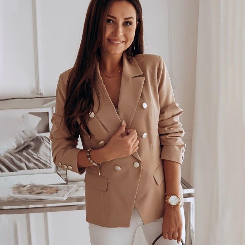 blazer women 2020 new autumn winter office ladies solid Slim suit jacket metal buckle double-breasted suit blazer feminino coat