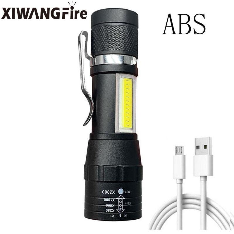 T6 карманный светодиодный фонарик мощный фонарь zoom 3 режима USB перезаряжаемый портативный фонарик из алюминиевого сплава водонепроницаемый ...