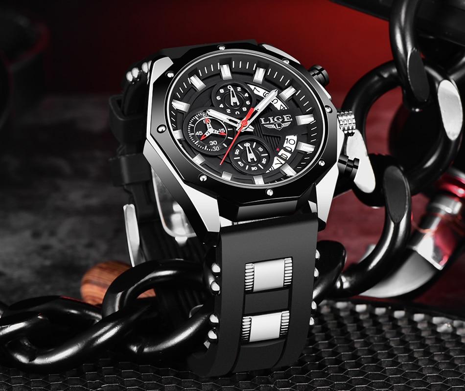 de couro relógio de pulso grande dial