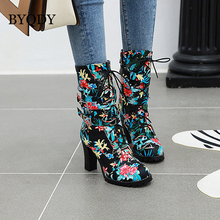 BYQDY Fashion Floral Printing Block High Heel Buckle Strap Boots Lace Up Flower Mid Calf Boots Zip Female Botas Plus Size 48 eyelet buckle strap mid calf boots