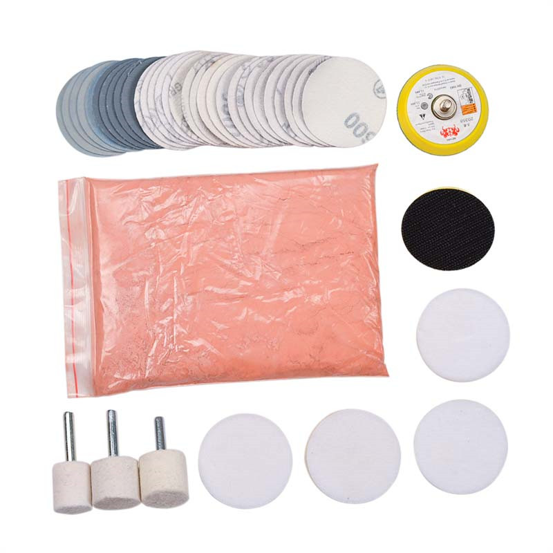 34 pçs/set profundo scratch remover kit de polimento de vidro 8 oz óxido cério + disco lixa lã polimento almofada para janelas do pára-brisas