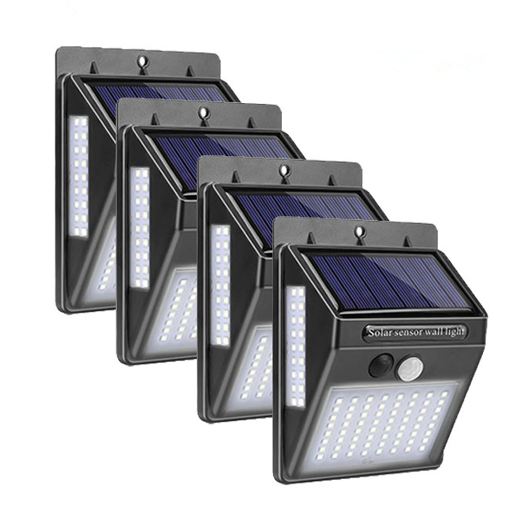 30/37/40/100 LEDs Solar Light PIR Motion Sensor 4pcs Solar Power Lamp Three-Side Outdoor Waterproof Garden Path Decor Wall Light