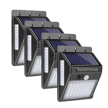 4pcs Solar Light 100 LEDs PIR Motion Sensor Powered Lamp Three-Sided Outdoor Waterproof Garden Path Decoration Wall Lights