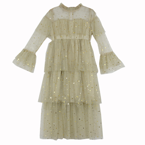 Image 3 - 4 to 16 Years New 2021 Spring Stars Sequins Girls Dress Lace Baby Princess Mother and Daughter Beautiful Clothes,#3995