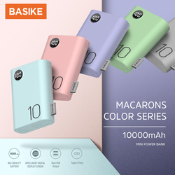BASIKE Mini Power Bank Dual USB LED 10000 mAh Cell Phone Portable Charger Fast Charging 2 Input Android For iPhone Xiaomi