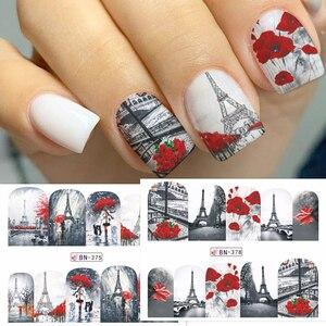 Image 2 - 12 projetos de água arte do prego transferência adesivo sliders bordo vermelho romântico desenhos dos namorados decalque manicure decorações JIBN373 384