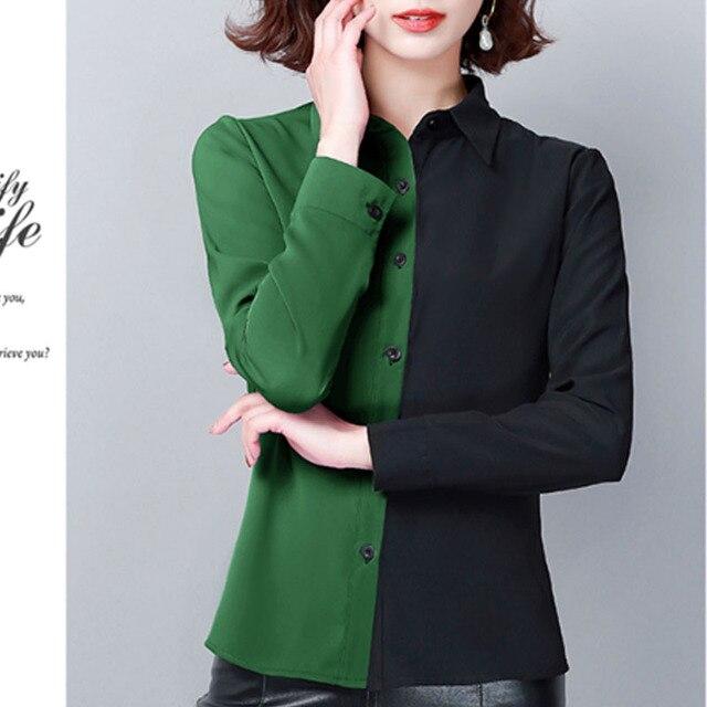 2019 Autumn Fashion Women Shirts Casual Spliced Women Clothing OL Plus Size Long Sleeve Leopard Women Blouses 6014 50 2