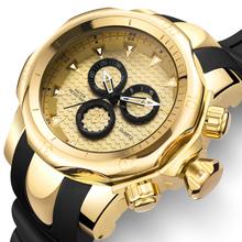 Złoty zegarek mężczyźni duża tarcza 3D obracanie męskie zegarki Top marka luksusowy pasek silikonowy wspinaczka sport prezent dla mężczyzn Relogio Masculino tanie tanio JIANG YUYAN Moda casual Klamra 3Bar QUARTZ STAINLESS STEEL 13 81inch Hardlex 20mm 23mm ROUND Kwarcowe Zegarki Na Rękę