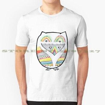 Camiseta Totemic Love con búho en blanco y negro para hombre y mujer, búho, pájaro, búho, patrón de tótem, corazón y arcoíris, símbolo de garabato dibujado a mano