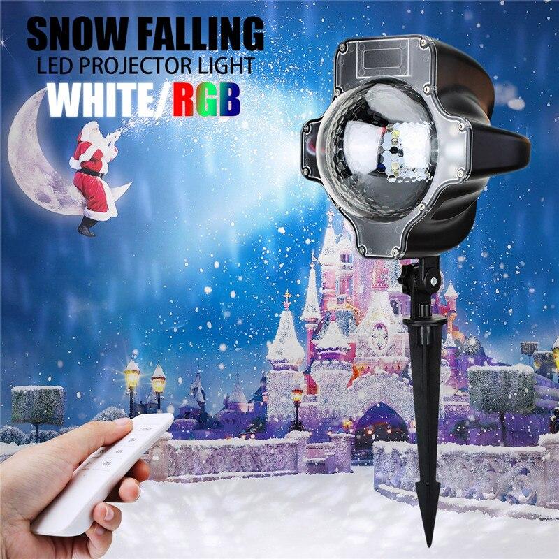 Effet d'éclairage d'étape de LED DC6V AC220V 3W flocons de neige de noël rvb/blanc projecteur LED pour la décoration d'intérieur/extérieure de jardin à la maison