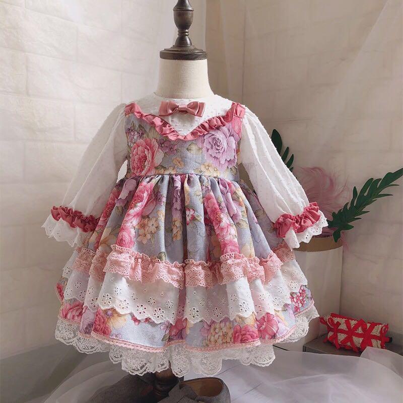 Automne espagnol Lolita filles robe fête d'anniversaire à manches longues imprimer enfants robe dentelle épissé noeud papillon enfants enfants Vestidos 12 M-6 T