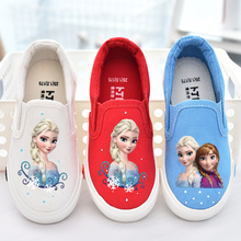 Fashion canvas loafer girls cartoon anna elsa sneaker children flats kids
