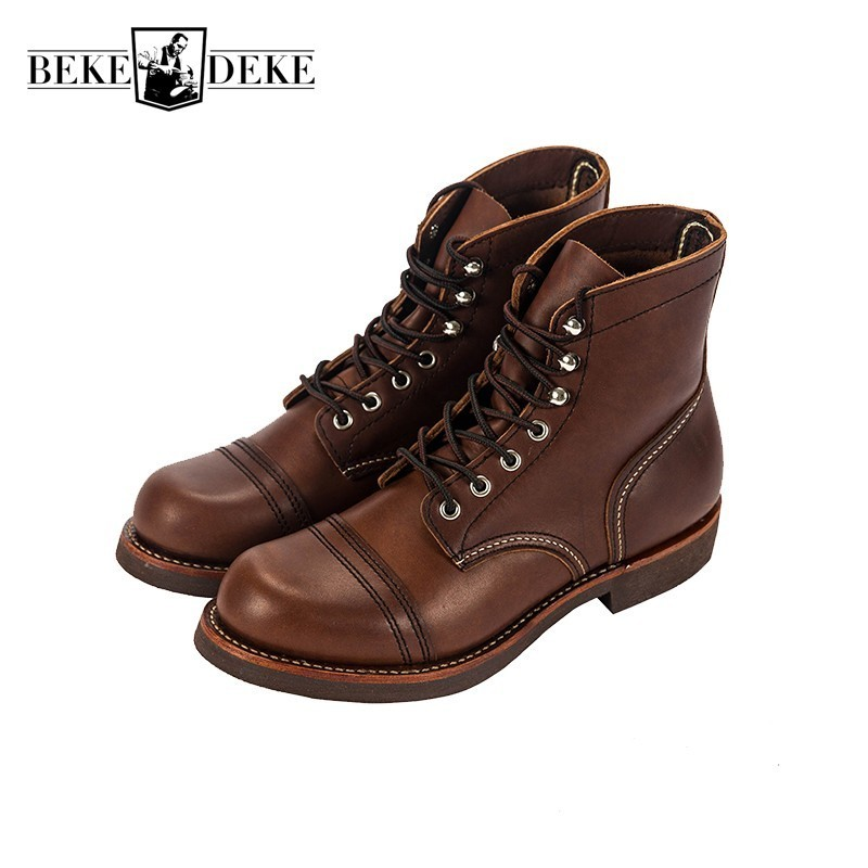 High Quality Vintage Mens Genuine Leather Motorcycle Boots Fashion Lace Up Round Toe Winter Warm Male Ankle Boots Cargo Shoes