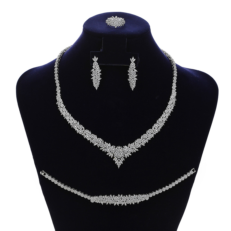 Jewelry Sets HADIYANA Charming 4PCS Necklace Earrings Ring And Bracelet Set For Women Wedding Got Enagged CN1794 Bisuteria