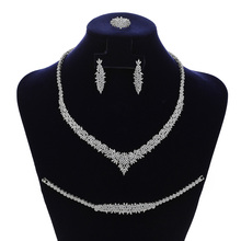 цена на Jewelry Sets HADIYANA Charming 4PCS Necklace Earrings Ring And Bracelet Set For Women Wedding Got Enagged CN1794 Bisuteria