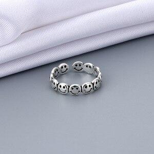 Винтажный античный серебряный Цвет счастливой улыбкой уход за кожей лица Открытые Кольца для женщин в стиле панк, в стиле «хип-хоп» регулировочного кольца модные ювелирные украшения, лучший подарок