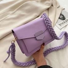 цена на PU Leather Crossbody Bags for Women Braided Shoulder Strap Small Flap Ladies Handbags Fashion Designer Female Messenger Bags