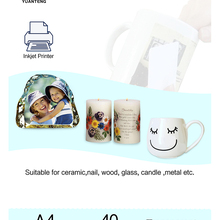 (40pcs/lot) Inkjet Water Slide Decal Paper A4 Size Transparent Transfer Paper Clear Color Waterslide Decal Paper For Mug Nail