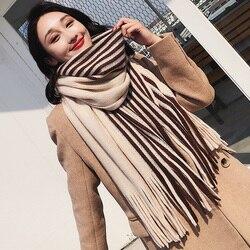Брендовый женский зимний шарф, Корейская Студенческая универсальная полосатая шаль, длинный шерстяной вязаный утолщенный теплый женский м...