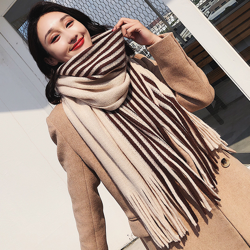 Brand Women Scarf Winter Korean Student Versatile Striped Shawl Long Wool Knitting Thickened Warm Neck Female Fashion Scarf Gift