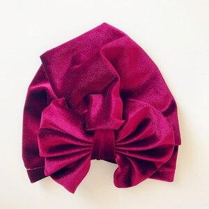 Image 2 - Childrens Gold Velvet Indian Hat Bowknot Muslim Beanie Cap Elastic Soft Girls Turban Kids Head Wrap Fashion Headwear