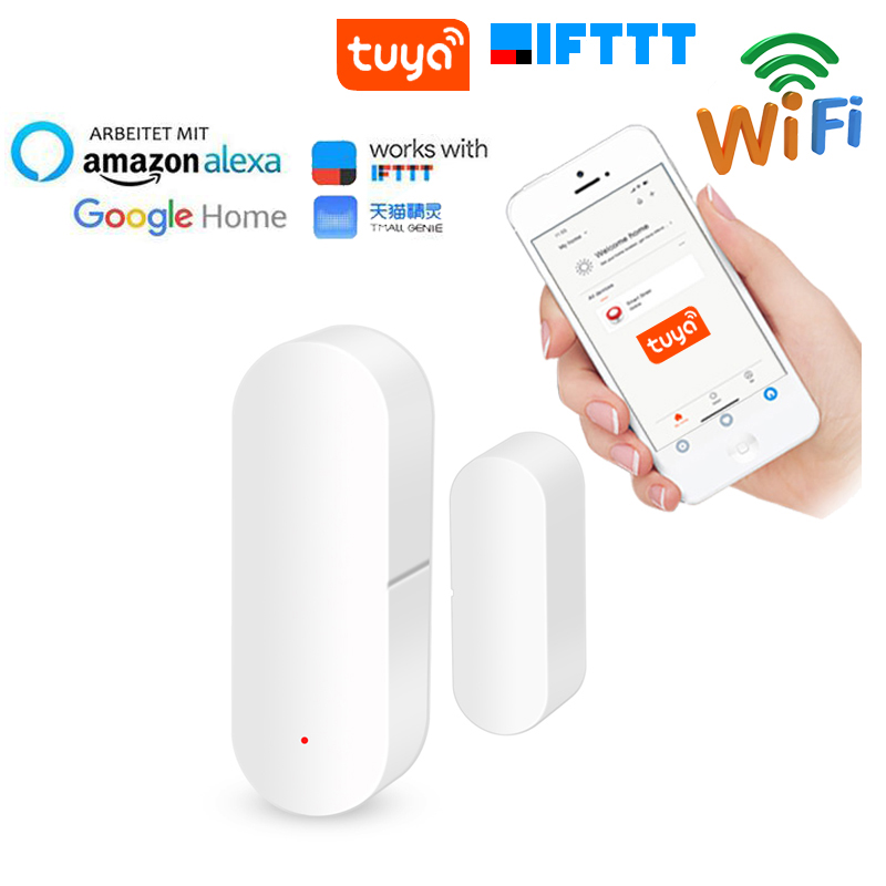 Home Security Smart WiFi Security Sensor Door Open Detector Wireless Remote Control Work With Alexa Google Home IFTTT Tuya APP