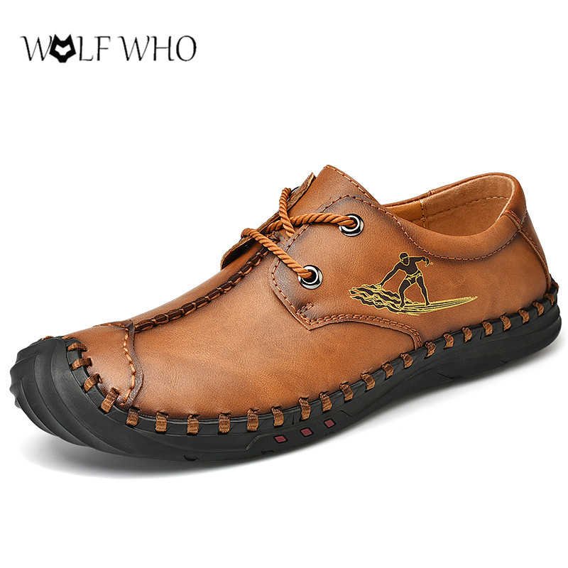 Sneakers Men Shoes Soft Leather Casual Sneakers Big Size 38-48# Male Lace-Up Flat Footwear Chaussure Homme Men Moccasins Shoes