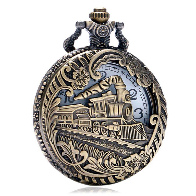 New Large Bronze Carved Hollow Locomotive Vintage Quartz Pocket Watch Classic Flip Inside White Black Pocket Watch