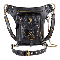 New Style Cool Steampunk Leather Motorcycle Bags Women Waist Bag Unisex Polyester