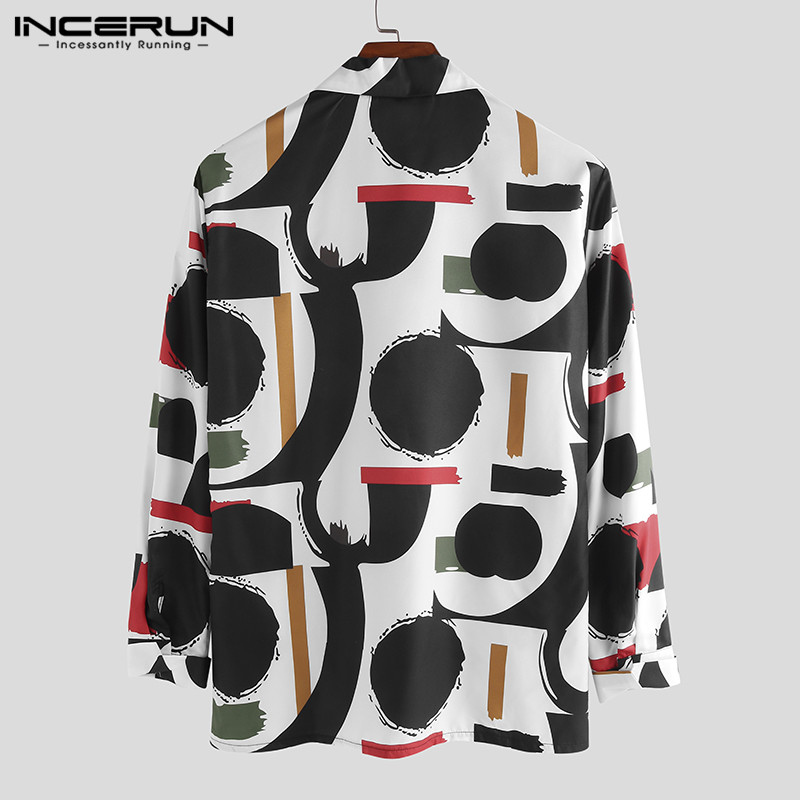 INCERUN Autumn Print Men Shirt Button Street Long Sleeve Breathable Stylish Casual Hawaiian Shirts Men Chic Chemise 2020 S-5XL