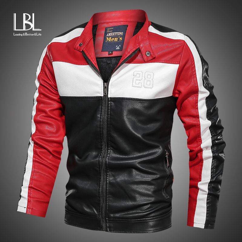 2019 Brand Embroidery Baseball Jackets Men Pu Faux Leather Jacket Male Casual Luxury Fleece Pilot Patchwork Stand Bomber Coat