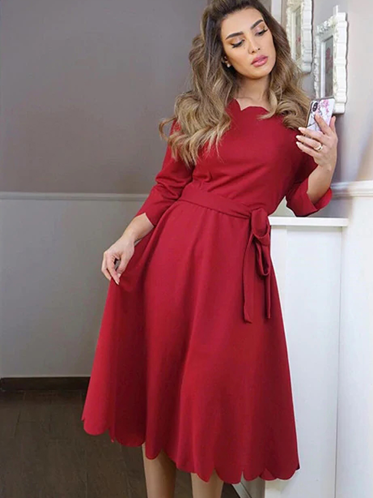 Sheinside Elegant Scallop Edge Bodycon Dress Women Burgundy 3 4 Sleeve Solid Pencil Dresses Woman Party Night Ladies Midi Dress in Dresses from Women 39 s Clothing