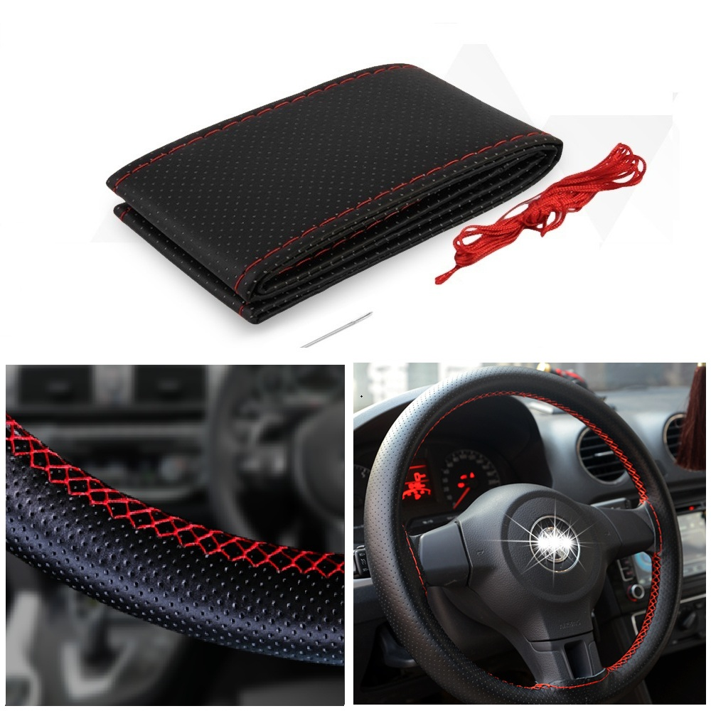 38CM Leather Car Steering Wheel Cover For <font><b>Lada</b></font> Vesta Granta Kalina Niva Priora Vaz Largus 4x4 Xray 2107 2110 2114 <font><b>2109</b></font> Samara image