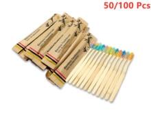 Brosse à dents en bambou à poils souples colorés, brosses à dents en bois de charbon de bois biodégradables, naturelles et écologiques, 50/100 pièces