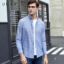 UCAK Brand Pure Cotton Shirt Men Autumn Winter Streetwear Fashion Classic Plaid Casual Shirts Long Sleeve Camisa Masculina U6005
