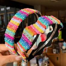 Korea Rainbow Hairbands Women Sweet Wide Alloy Headwear Glitter Sequins Fashion Girl Colorful Hair Accessories New Headband